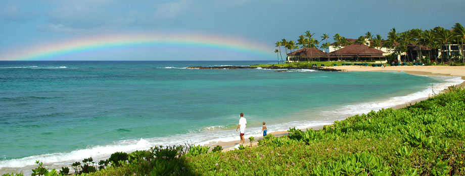 Rainbow after the rain cleared at Poipu Beach